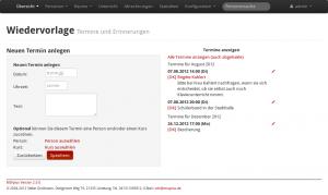 Screenshot MSVplus Wiedervorlage