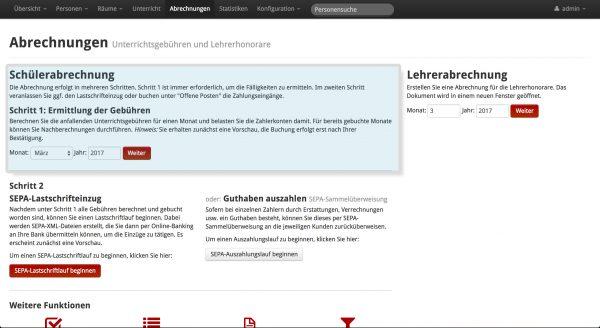 Screenshot von MSVplus Bereich Abrechnungen