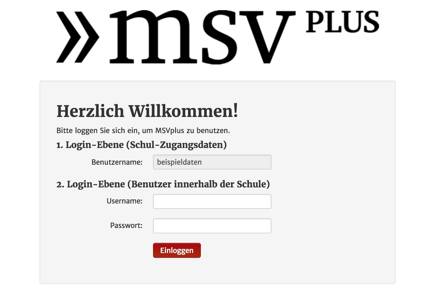 Screenshot MSVplus: Die Login-Maske