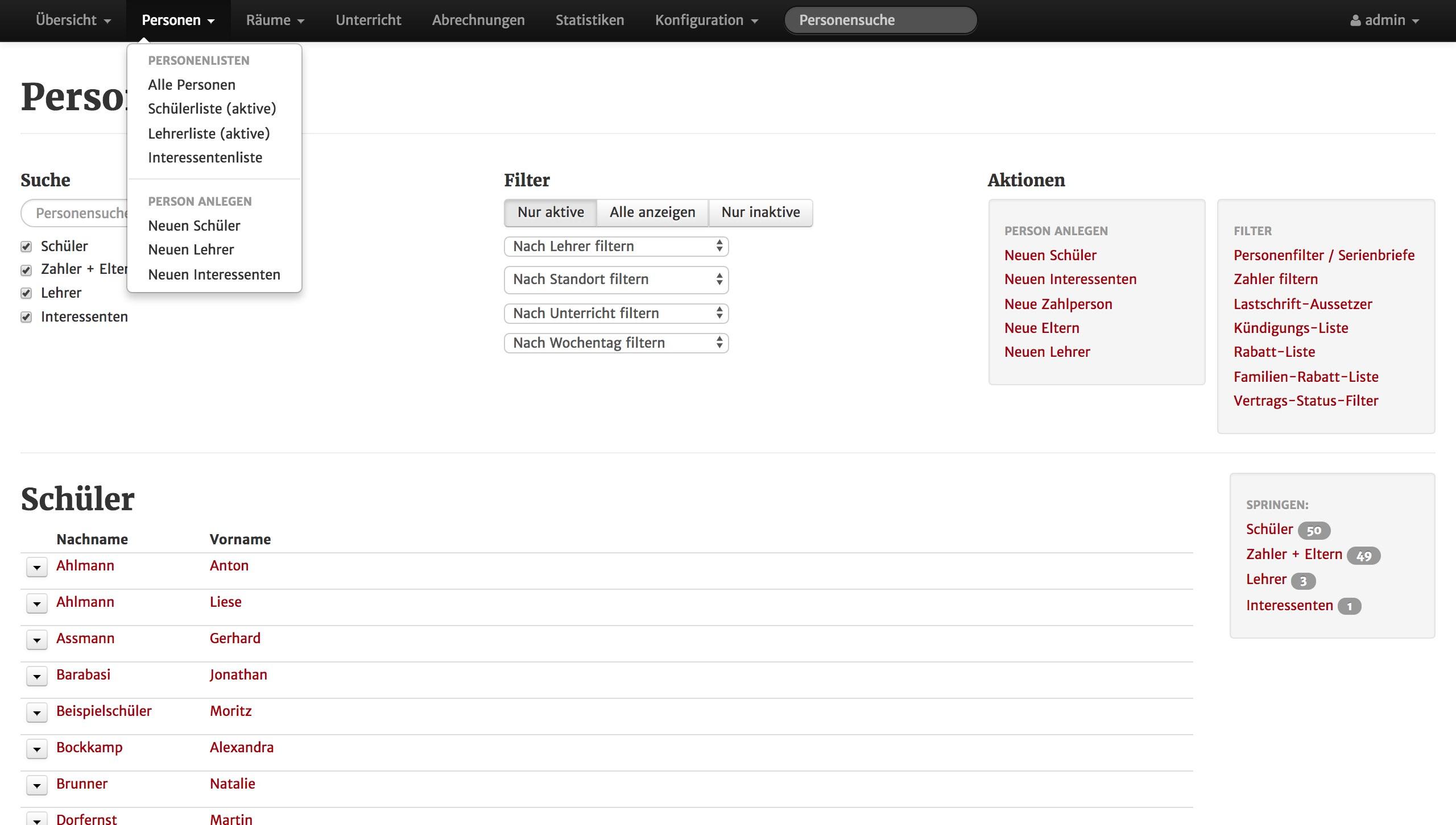 Screenshot aus MSVplus: Eine Schülerliste