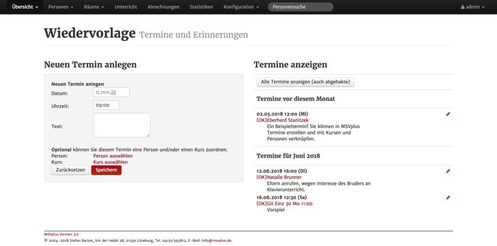 Screenshot: MSVplus Termineingabe bei Wiedervorlage