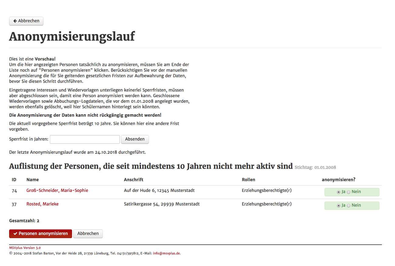 Screenshot aus MSVplus: Anonymisierungslauf