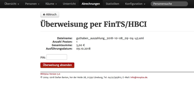 msvplus screenshot - hbci-schnittstelle