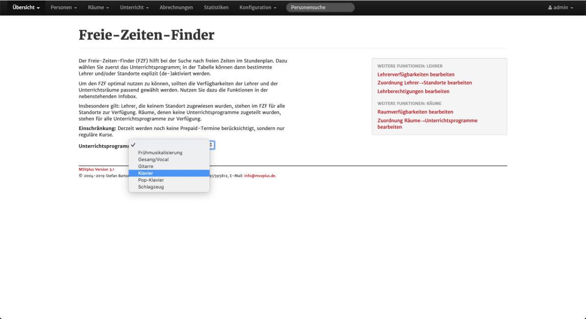 Screenshot aus MSVplus - Freie-Zeiten-Finder: Schritt 1 - Unterrichtsprogramm wählen.