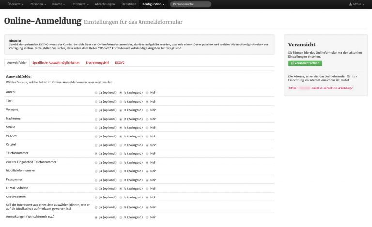 Screenshot der Konfigurationsseite der Online-Anmeldung in MSVplus