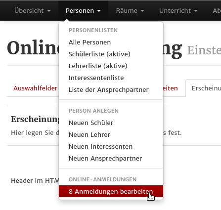 Screenshot aus MSVplus: Online-Anmedlungen übernehmen