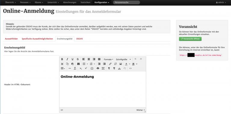Screenshot der Konfiguration der Online-Anmeldung in MSVplus