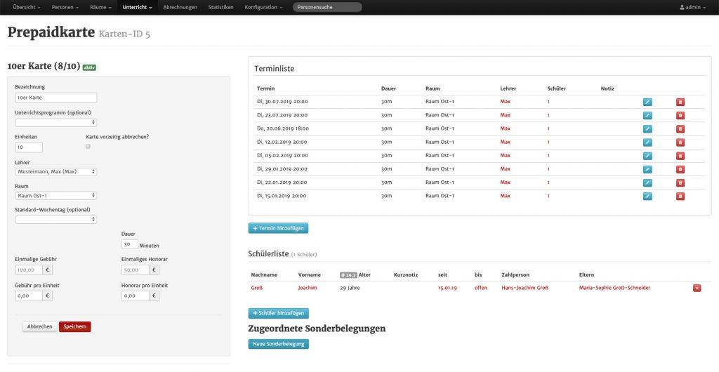 Screenshot aus MSVplus: Ansicht einer Prepaidkarte