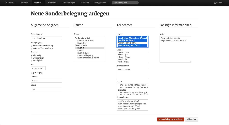 Screenshot aus MSVplus: Sonderbelegungen anlegen