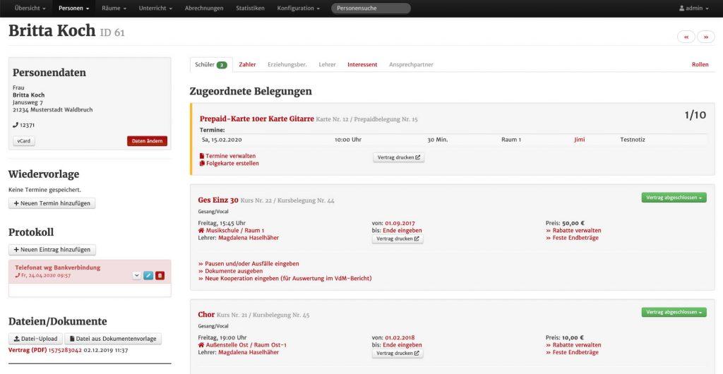 Funktionen - Screenshot aus MSVplus: Personenansicht