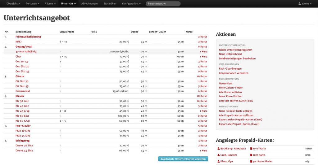 Screenshot aus MSVplus - Unterrichtsangebot