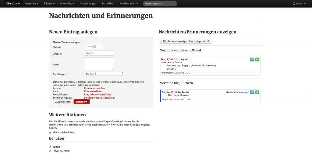 Screenshot aus MSVplus: Nachrichten und Erinnerungen