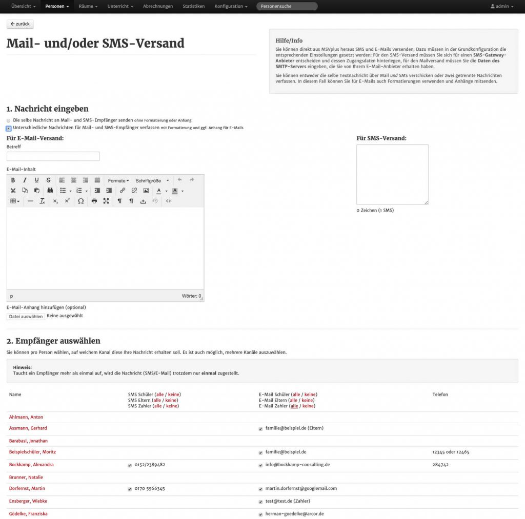 Screenshot aus MSVplus: Mailversand